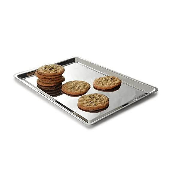 """Norpro Stainless Steel Jelly Roll Baking Pan 2 Measures: 15"""" x 10"""" x .5"""" / 38cm x 25cm x 1.25cm Bake cookies, pastries, biscuits and rolls, pizza, tater tots and fries or use to heat up a sandwich or leftovers. Raised edges all around holds in your sweet or savory creations."""