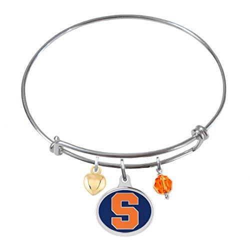 College Jewelry Syracuse University Orange Sterling Silver Adjustable Bangle Bracelet with Enamel (Syracuse Orangemen Bracelets)