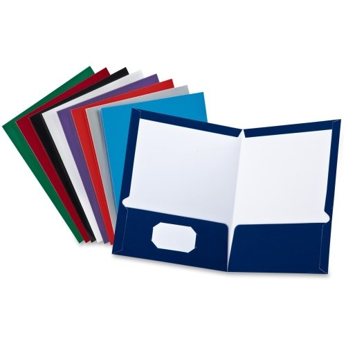 Oxford Laminated Twin Pocket Folders - Letter - 8.50'' Width x 11'' Length Sheet Size - 100 Sheet Capacity - 2 Pockets - Black, Blue, Gray, Navy, Purple, White, Red - Includes only 1 Folder