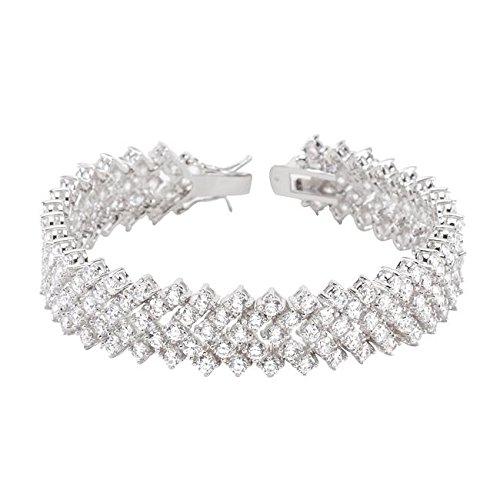 Freedom Fashion Chevron Cubic Zirconia Tennis Bracelet by Freedom Fashion Jewelry