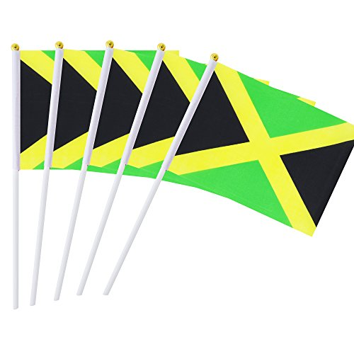 Hand Held Jamaica Flag Jamaican Flag Stick Flag Mini Flag 50 Pack Round Top National Country Flags,Party Decorations Supplies For Parades,World Cup,Sports Events,International Festival (8.2 x 5.5)