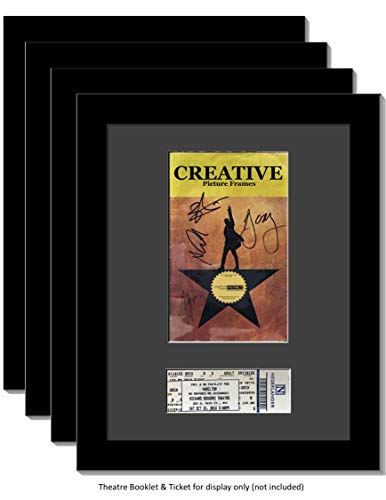 CreativePF [4pk11x14-b] Black Theatre Frame with Black Matting, Holds 5.5x8.5-inch Media Plus Ticket Including Installed Wall Hanger (Theatre Bill Not Included, Pack of 4) ()