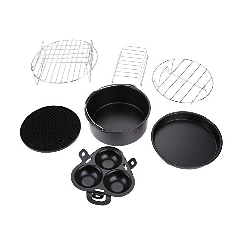 7 Sets Air Fryer Accessories for Power Airfryer, Suitable for XL Gowise and Phillips 5.3QT-5.8QT, Barrel, Silicone Mat, Skewer Rack, Metal holder Fit Skewer Rack Baking Pizza Pan Holder, Egg Rack
