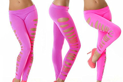 2e483bc5c6b35 Women's Candy Color Holes Tights Capri Leggings Pants for Yoga Running  Fitness Sports (Pink Side Holes) - Buy Online in UAE.   Apparel Products in  the UAE ...