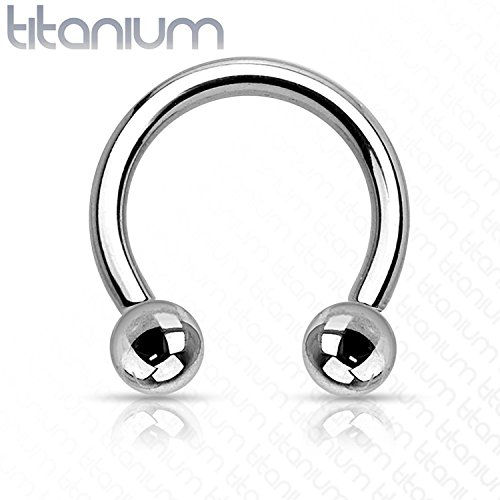 Freedom Fashion Grade 23 Solid Titanium Horseshoe with Balls (Sold by Piece)
