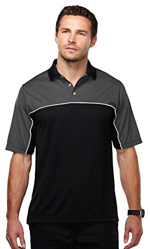 Men's 100% polyester color blocking polo shirt, Charcoal/Black XXXX-Large