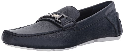 Calvin Klein Men's Magnus Tumbled Leather Slip-on Loafer, Dark Navy, 11.5 M (Navy Tumbled Leather)