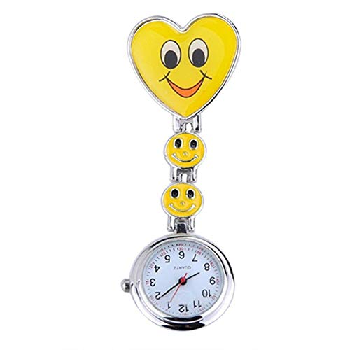 (Women's Cute Smiling Faces Heart Clip-On Pendant Nurse Fob Brooch Pocket Watch)