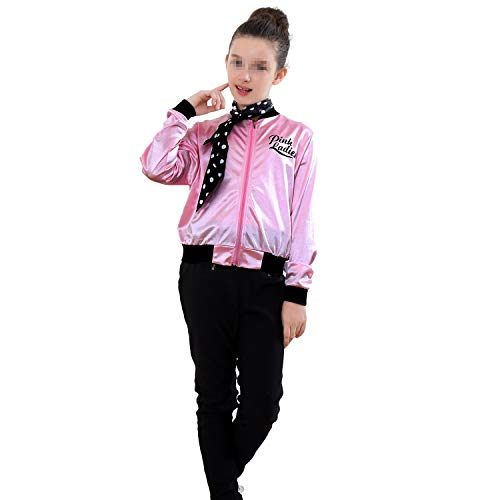 Child Pink Ladies Jacket 50S T-Bird Costume with Scarf Sizes 6-14 (14, Style 2)