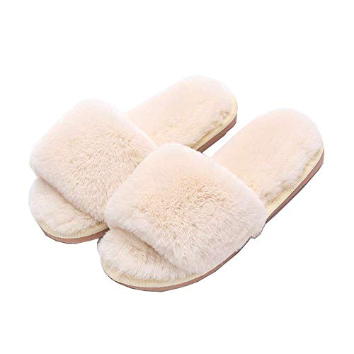 Indoor Kids Fur Outdoor White Slide Home Open Women Slippers Toe 1 Fashion Fluffy OUqfZRT1