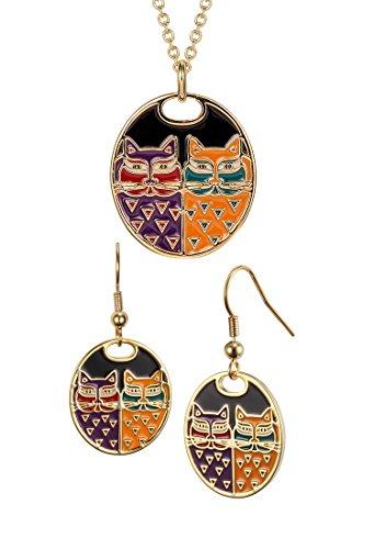 Laurel Burch Portrait Cats Cloisonne Necklace / Earrings Set