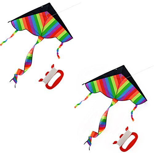 YIFAN 2Pack Kites for Kids, Rainbow Kite Beach Kite With long Tail Kites for Park by YIFAN