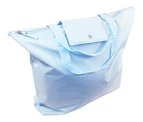 Devon Jones Fold-over Shopping Tote, Fashion Tote Shopping Bag, Grocery Shopping Bags, Tote Bag, Folding Travel Tote Shopping Tote Weekender Bag, - 100% Polyester Microfiber, Light Blue. (Zipper Bag Polyester Tote)
