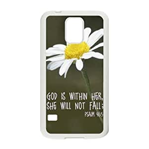 Special God Is Within Her, She Will Not Fail - Psalm 46:5 - Daisy - Bible Verse Pattern Samsung Galaxy S5 SV TPU(Laser Technology) Durable Back Case Shell - For Samsung Galaxy S5 SV