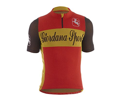 Giordana Sport Men's Classic Performance Wool Cycling Jersey 2015, Red/Yellow, Large/X-Large