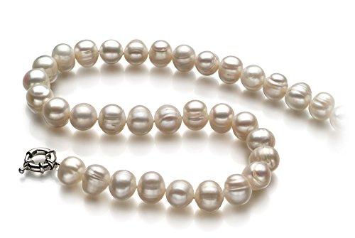 PearlsOnly - Blanc 10-11mm A-qualité perles d'eau douce -Collier de perles