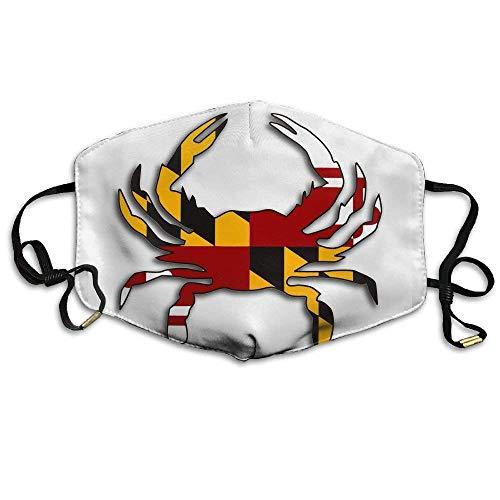 Unisex Maryland Flag Crab Washable Anti Dust Flu Masks Mouth Face Masks
