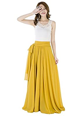 Sinreefsy Summer Chiffon High Waist Pleated Big Hem Floor/Ankle Length Beach Maxi Skirt for Women Wedding Party