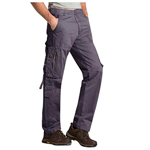 Mens Tactics Outdoor Loose Casual Multi-Pocket Cotton Cargo Long Pants Trousers Dark Gray