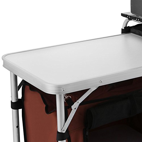 BestEquip Camping Kitchen Table Aluminum Alloy Fold Cooking Station Lightweight Portable Pack-Away Kitchen Picnic Barbecue Cooking Table by BestEquip (Image #4)