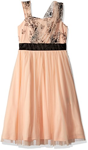 Amy Byer Big Girls' One Shoulder Tee Length Dress, Peach, 10