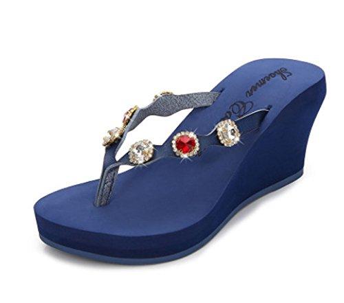 sandali dimensioni drag Grigio donna spiaggia con spiaggia Carina stile Blu in da diamanti da HAOYUXIANG pelle Scarpe in con Colore Moda 37 w7Hx6
