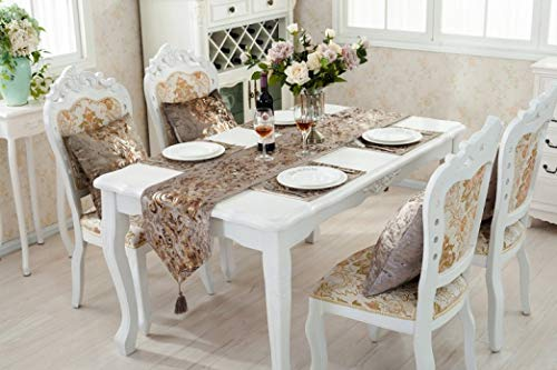 ROGEWIN Table Runner No Fade Suede Luxury Floral Bronzing Europe Wedding Party Banquet Dining Room Home Decoration]()