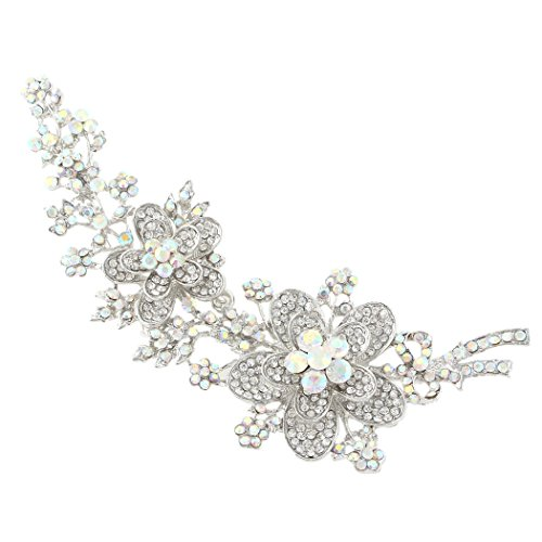 EVER FAITH 5.7 Inch Flower Bowknot Iridescent Clear AB Austrian Crystal Brooch Pin Silver-Tone ()