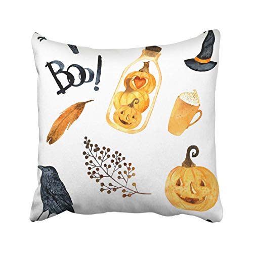 Emvency Watercolor Helloween Perfect for Thanksgiving Halloween Design Recipe Holiday Pumpkin Crows Terrarium Bird Throw Pillow Covers 20x20 Inch Decorative Cover Pillowcase Cases Case Two -