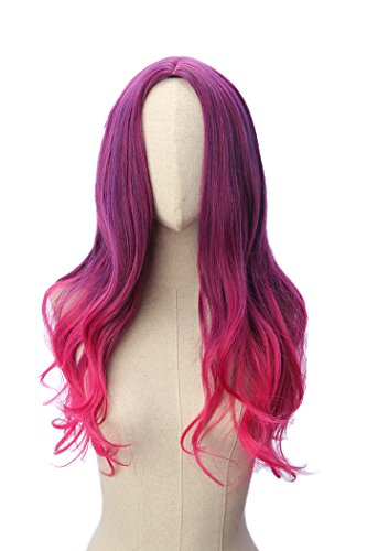 Long Wavy Gamora Cosplay Wig Purple Mixed Red Pink Gradient Ombre Hair]()