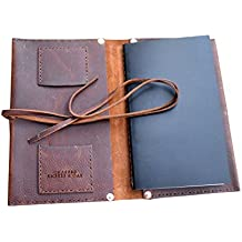 Burl & Blade Leather Cigar Notebook Case Premium Handmade Leather Case – designed with plenty of pockets, a humidor pouch, and a refillable Field Notes Book, Medium 6 x 8 inches