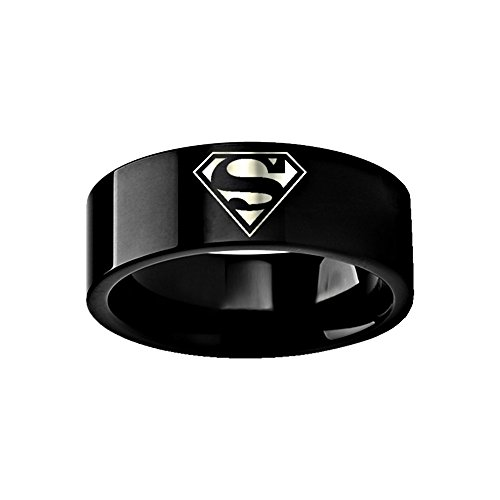Thorsten Superman Emblem Symbol Hero Ring Wedding Band Black Tungsten Custom Personalized Inside Engraved 8mm Wedding Band Ring from Roy Rose -