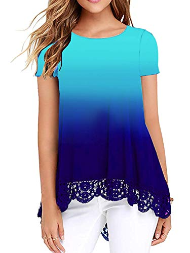 Women Tops Short Sleeve Lace Trim O-Neck A-Line Tunic Loose Blouse Gradient Color Blue and Green XX-Large