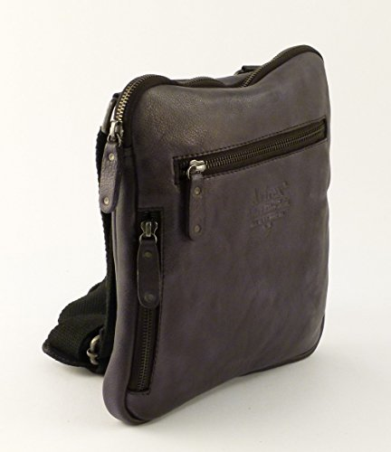 Mens bag in leather Avirex Tigerfly 314 Black
