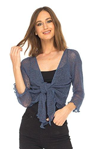 (SHU-SHI Womens Sheer Shrug Tie Top Cardigan Lightweight Knit,Blue Jeans,One Size)