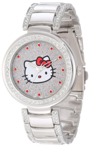 (Hello Kitty Women's H3WL1046SV Silvertone Case and Bracelet Accent Ribbed Ray Watch)