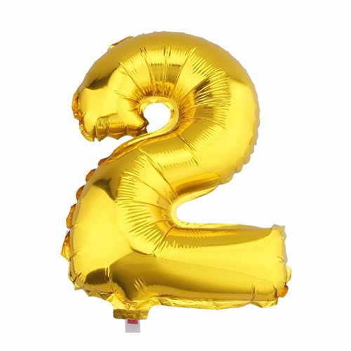 Aerfas 30 Inch Letter Balloons, Gold A-Z Letter And 0-9 Number Aluminum Foil Balloons For Party Decoration Supplies,Can Be Float With Helium, (Number 2) (Number One Sala 2 Halloween)