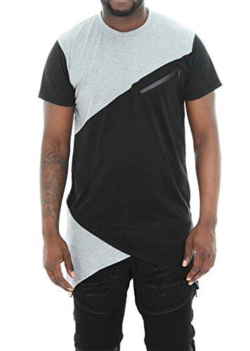 Imperious Men's Colorblock Asymmetric Hem Side Zipper Longline T Shirt-Black-M