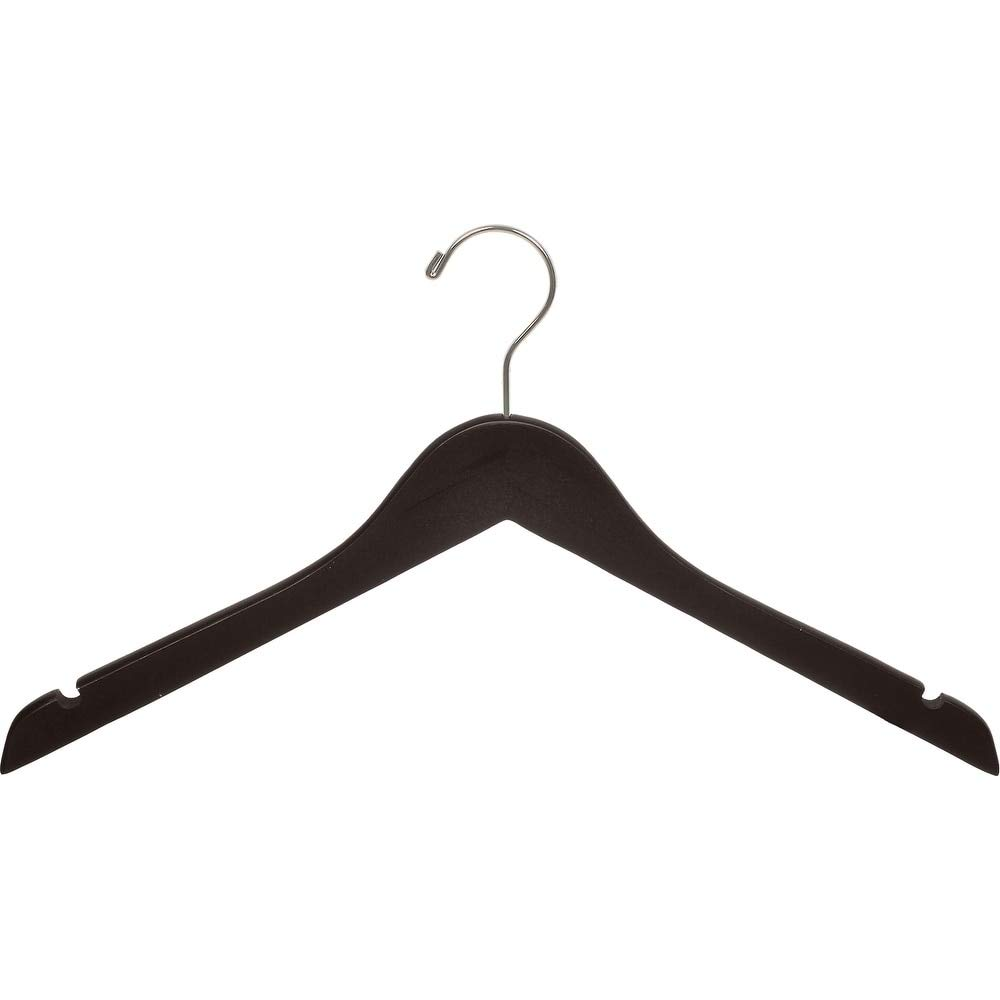 The Great American Hanger Company Wood Top Hanger, Box of 100 Space Saving 17 Inch Flat Wooden Hangers w/Espresso Finish & Brushed Chrome Swivel Hook & Notches for Shirt Jacket or Dress by The Great American Hanger Company (Image #2)