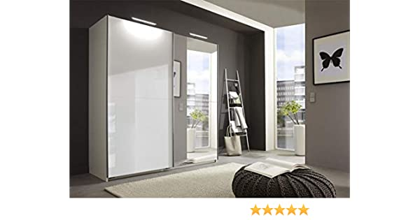 Wimex Alemana Meissen Blanco Brillante Espejo 2 Puertas 180 cm Slider Armario de Puertas correderas: Amazon.es: Hogar