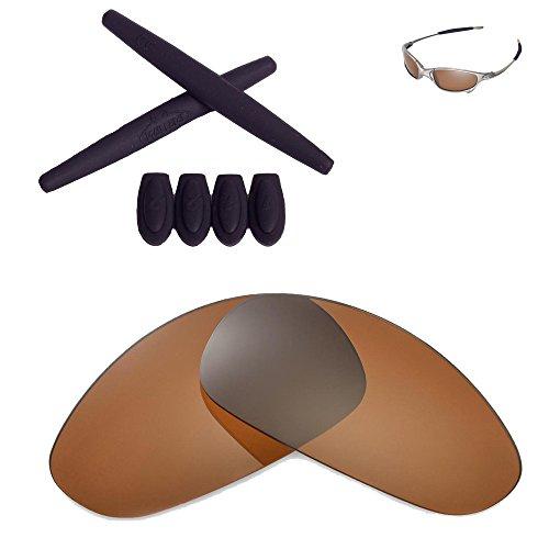 Walleva Lenses And Rubber Kit(Earsocks+Temple Shocks) For Oakley Juliet - 11 Options Available (Brown Polarized lenses + Black - Oakley Accesories