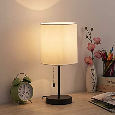 HAITRAL Table Lamp - Modern Bedside Desk Lamp with Pull Chain Fabric Lamp Shade Nightstand Lamp for Bedroom, Office, College Dorm - --SAVE SPACE & PERFECT SIZE - Lamp dimension - 16 (H) x 7.5 (L) x 5.5 (W) inches, small base of the desk lamp with shade makes it easy to place in almost any desk where you have lighting needs, compact and save space. It's modern lamp that can be used as a bedside table lamp, nightstand lamp, reading lamp, bedroom lamp, office lamp, etc. --SIMPLE & MODERN DESIGN - The black table lamp is designed for a minimalist and elegant look that will enhance the beauty of your home or office. It will bring a bright and shiny touch to your beautiful house, making your house much more welcoming and fancy. It's perfect lamp for bedroom, living room, kids room, girls room, dorm room, restaurant, bar, etc. --BULB REQUIREMENTS - The cord and plug of HAITRAL small lamp are UL listed which is safe choice for you! The small desk lamp can be only equipped with E26 standard size light bulbs (Bulb Not Included), Max 60 Watts. It's compatible with a variety of light bulbs, you can customize the lighting of the small lamp based on the color light bulb you choose. - lamps, bedroom-decor, bedroom - 41txgIItubL. SS400  -