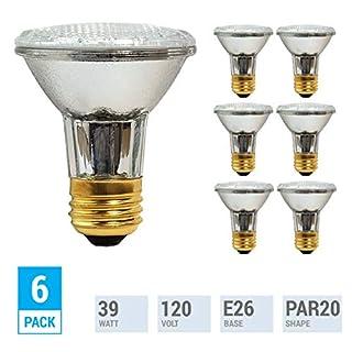 (Pack of 6) 39PAR20/FL 120V - 39 Watt High Output (50W Replacement) PAR20 Narrow Flood - 120 Volt Halogen Light Bulbs