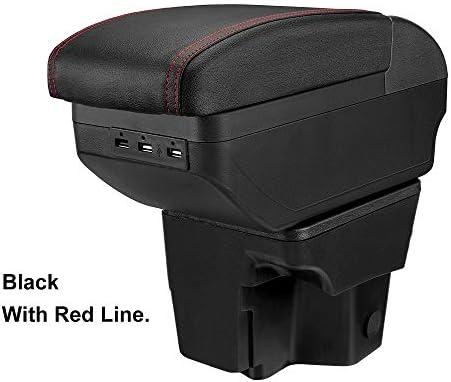 車のアームレストボックスセンターコンソール USB付きカースタイリングアクセサリーアームレストボックスについては起亜リオ3 2011-2016 PUレザー中央コンテナストレージボックス アームレスト コンソールボックス (Color : Dual-Layer Red)