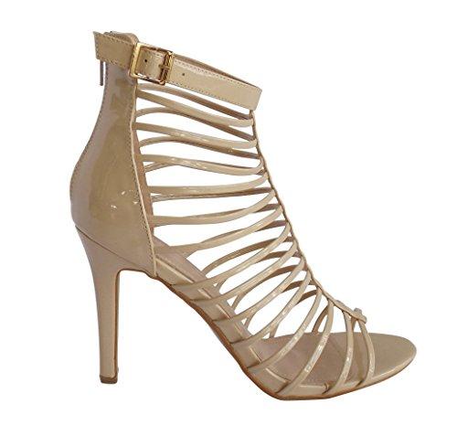 Miss Mafia Nude Beige Delfina High Heel Shoe Wedding Formal Bridal (9)