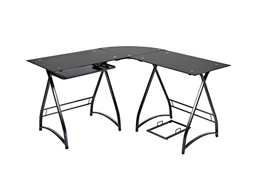 Naomi Home 3 Piece Allison Stylish L-Shaped Corner Computer Desk Black 3 Piece Glass Desk