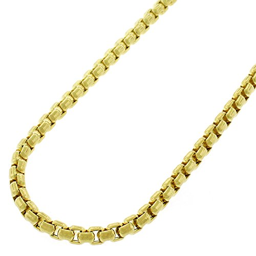 10k Necklace Gold Box Venetian (10k Yellow Gold 3mm Round Box Link Necklace Chain 20