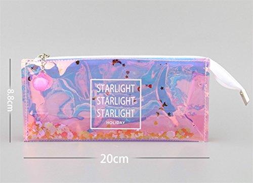 Fishinnen Nuevo Regalo de Estudiante Bolso de lápiz Transparente de Estilo Simple Pencil Case Lápiz de Bolso (Rosa)