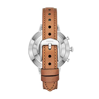 Fossil Women's Jacqueline Stainless Steel and Leather Hybrid Smartwatch, Color: Silver, Brown (Model: FTW5012)