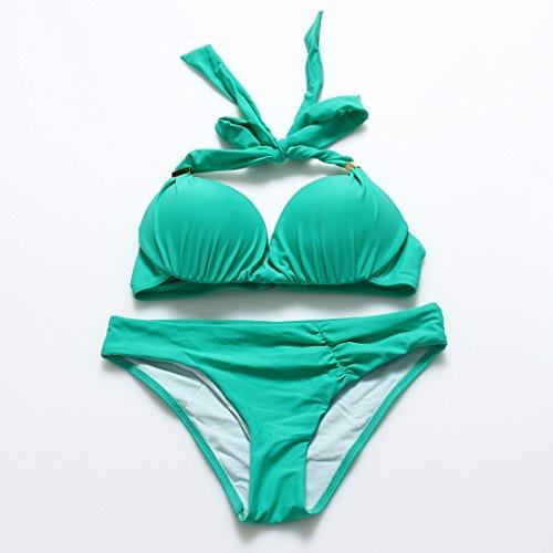YONGYI Europa y la comunidad de color puro, la Sra. Bikini Copa del molde y el resorte de acero girl trajes de baño Lago Verde